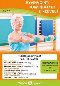 fysioterapiaryhmien aikataulu syksy 2019