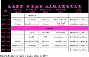 Lokakuussa 2019 järjestetyn Lady´s dayn aikataulu