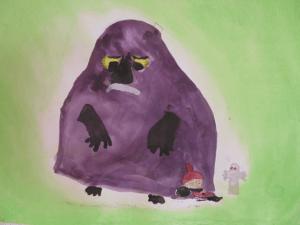 Harjulan kansalaisopiston kuvataidekurssilla maalattu Mörkö ja Pikku Myy