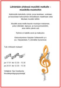 Ikäihmisten musiikkituokioita pidetään tammikuussa Harjulassa.